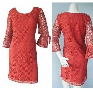 NWT Dressbarn rust crochet boho dress sz 10